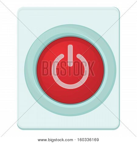 Red power on or off button icon. Cartoon illustration of red power on or off button vector icon for web