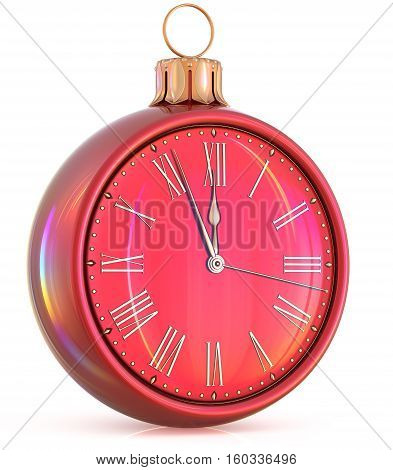 New Year's Eve clock midnight hour countdown pressure Christmas ball decoration ornament red golden sparkly adornment bauble. Seasonal happy wintertime holidays beginning future time. 3d illustration