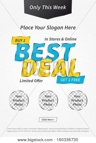 Banner Best Deal Buy 1 Get 1 Free vector illustration on grey background. Poster Best Deal Limited Offer creative concept with sample text for websites retail stores advertising.