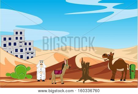 Landscape of the city in desert and animal of the camel and ass