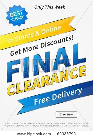 Banner Final Clearance vertical vector illustration on grey background. Final Clearance creative concept with sample text for online shop retail store advertising poster banner.