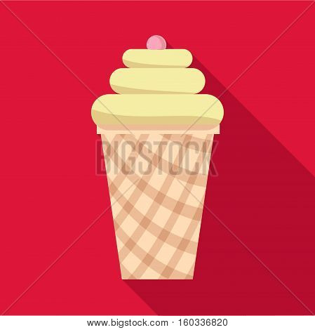 Vanilla ice cream in waffle cup icon. Flat illustration of vanilla ice cream in waffle cup vector icon for web isolated on baby blue background