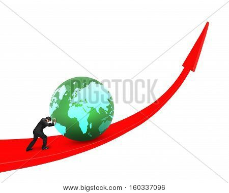 Businessman pushing globe upward on red trend line isolated on white background. poster