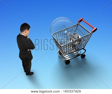 Man Looking At Shopping Cart With Light Bulb Top View