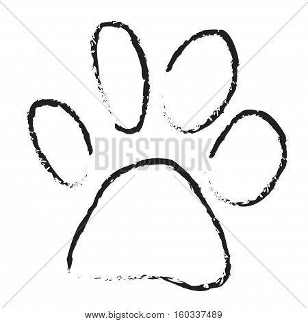 dog paw scetch vector isolated on white background