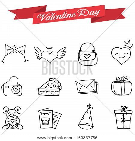 Vetcor art of valentine icons collection stock