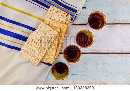 Jewish Holiday Wine And Matzoh - Elements Of Jewish Passover Supper