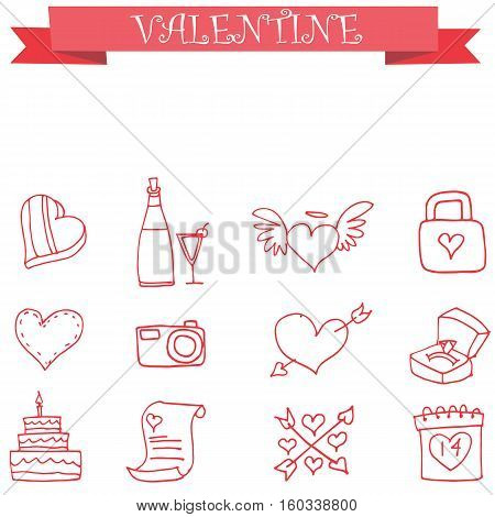 Illustration of valentine icon collection stock vector art