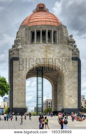 Mexico City Mexico - July 7 2013: Monument to the Mexican Revolution (Monumento a la Revolucion Mexicana). Built in Republic Square in Mexico City in 1936.