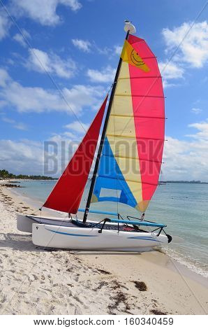 Small sailing catamaran available for rent resting in the sand at a beach on Key Biscayne,Florida