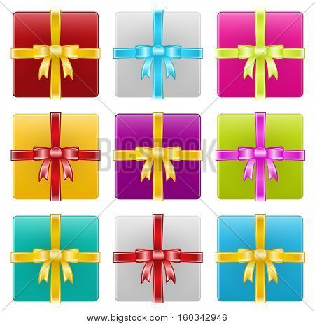 Vector Illustration of Gift Boxes with Ribbons. Best for Holiday Symbols, Design Elements, Celebration, Shopping concept.