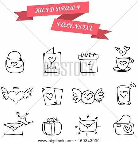 Vector illustration of valentine object collection stock