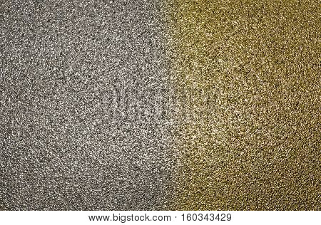 Abstract glitter texture, bicolor background, grainy abstraction, colorblock, gold and silver texture