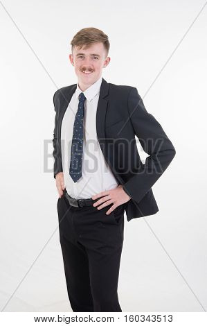 Businesss Man In Suit And Tie On White Background