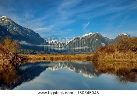 Sunny day Mountain lake, snow-capped peaks, light clouds in the blue sky, the forest on the horizon, yellow grass and bushes on the bank of the lake.