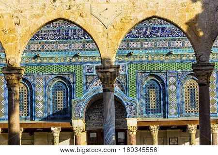 Mosaics Arches Dome of the Rock Islamic Mosque Temple Mount Jerusalem Israel. Built in 691 One of most sacred spots in Islam where Prophet Mohamed ascended to heaven on an angel in his