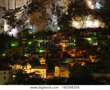 Athens Greece aerial night view of Plaka old neighborhood