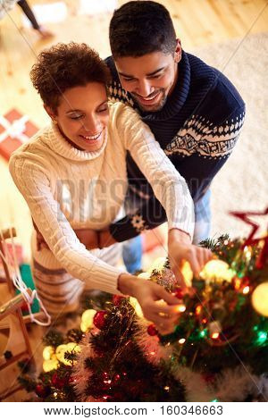 Smiling young couple decorated Christmas tree