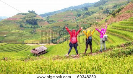 The Women Relaxed And Enjoying The Nature.