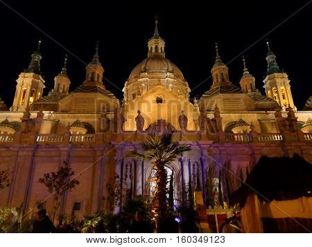 Cathedral-Basilica of Our Lady of the Pillar by Night, Zaragoza, Spain