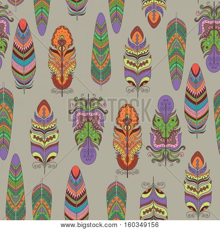 Seamless Vector Pattern with Feather. Boho Style Ornament.