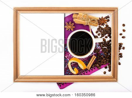 top view, white background, cup of coffee, spices, notebook, white sheet, coffee beans, close up, vintage, decoration, christmas, complimentary card, serviette, mock up, frame