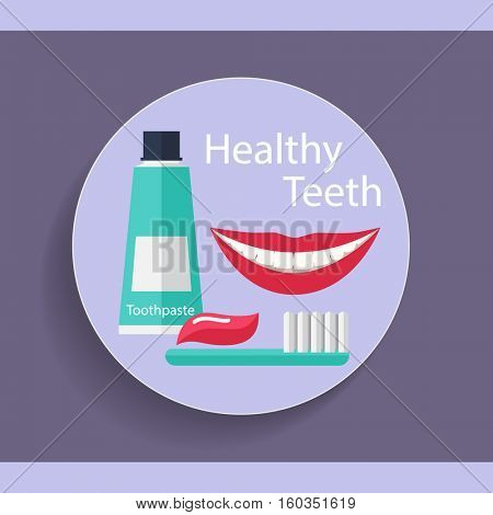 Healthy Teeth. Dental background with teeth, toothbrush and toothpaste. Vector illustration.