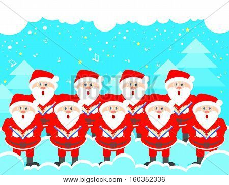 Postcard Christmas choir of Santa Claus. Christmas music greeting. Vector