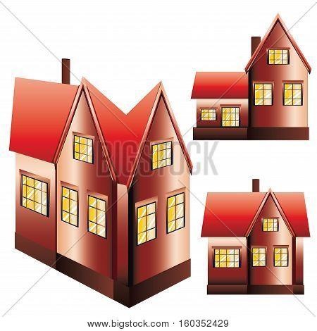 Set of three suburban family houses on white background.