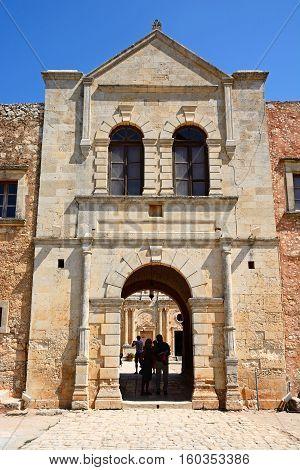 ARKADI, CRETE - SEPTEMBER 15, 2016 - Western wall entrance to the Arkadi Monastery Arkadi Crete Greece Europe, September 15, 2016.