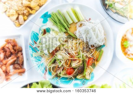 Green Papaya Salad Or Som Tum Thai