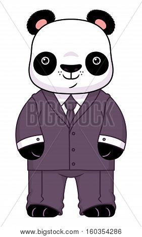 Cute cartoon panda businessman isolated on the white background.