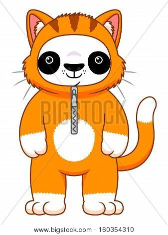 Cute cartoon panda in the cat suit isolated on the white background.