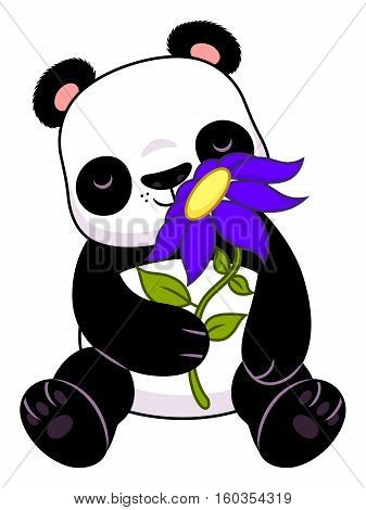 Cute cartoon panda with purple flower isolated on the white background.