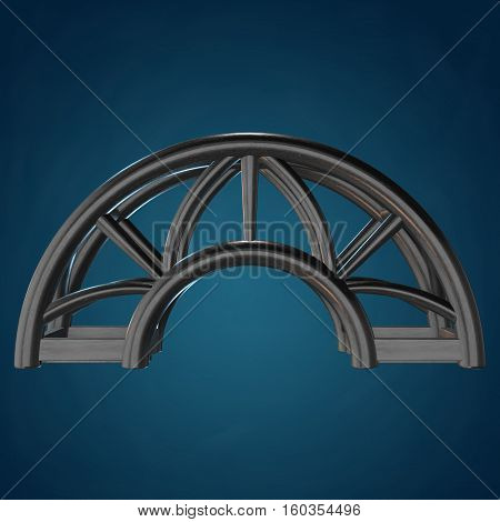 Steel truss arc girder element. 3d render on blue background