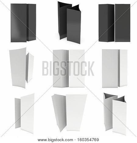 Blank paper triangle tent cards set. 3d render illustration isolated. Table cards mock up on white background.