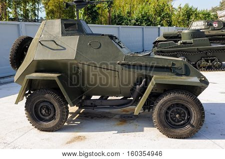 Verhnyaya Pyshma, Russia - September 4, 2010: Military armored car of BA-64. An exhibition of military equipment of times of World War II in Museum of Fighting Glory of the Urals military equipment