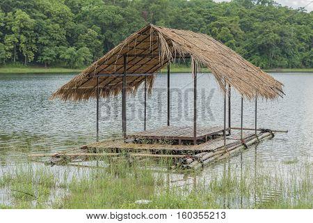 Pontoon bridge for river tourism in Thailand.