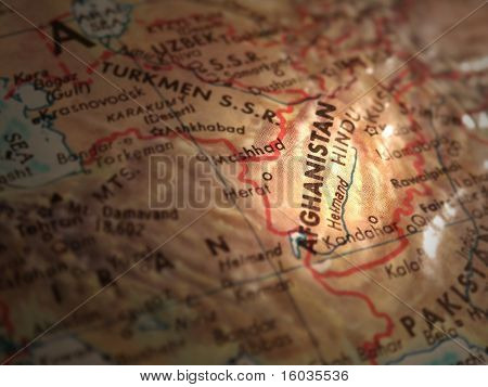 Selective focus and lighting of Afghanistan on a globe