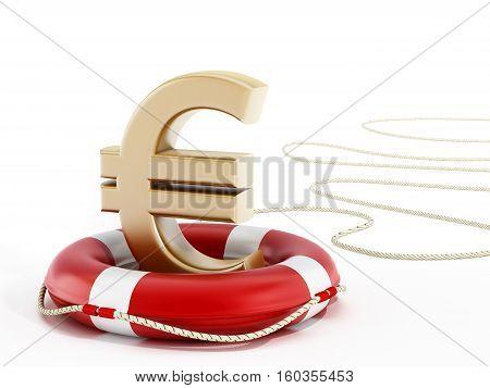 Golden euro symbol on lifebelt. 3D illustration.