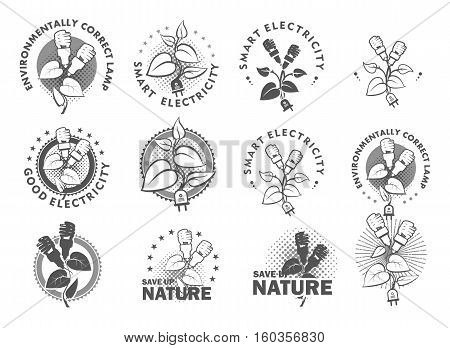 set Vector illustration of a template for a business or company sign on environmental issues green energy in two colors black and white
