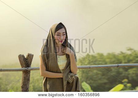 Beautiful Woman At Mountain.