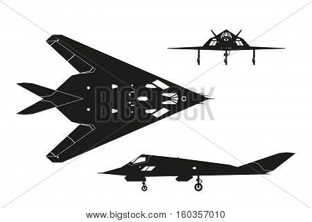 Military aircraft. Silhouette of war plane. Airplane views: top side front. Vector illustration