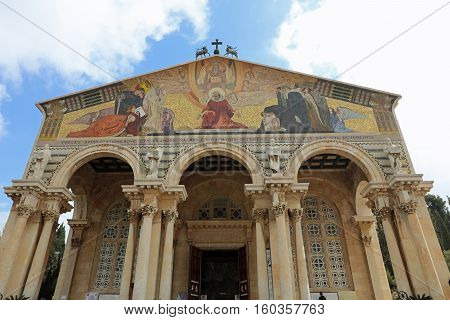 Jerusalem, Israel - November 2 , 2016: Church of All Nations (Basilica of the Agony) on the Mount of Olives. Jerusalem. Israel
