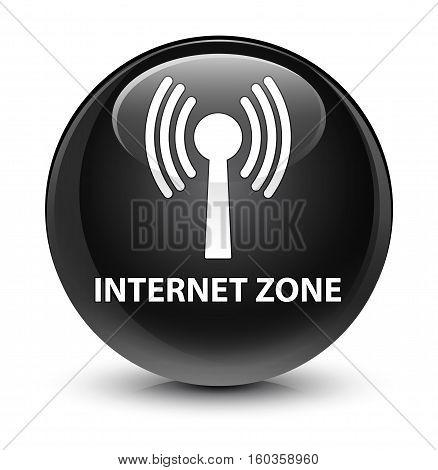 Internet Zone (wlan Network) Glassy Black Round Button