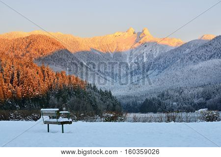 The Lions Mountain Peaks at sunrise Metro Vancouver British Columbia