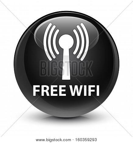 Free Wifi (wlan Network) Glassy Black Round Button