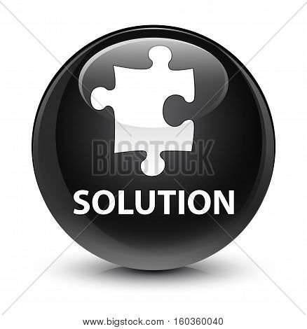 Solution (puzzle Icon) Glassy Black Round Button