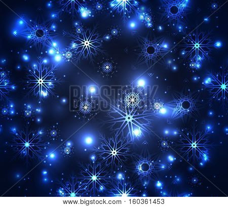 Seamless festive texture with sparkles snowflakes. Snowstorm night. Vector element for your creativity