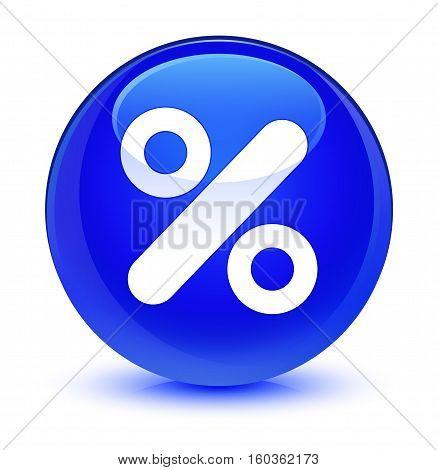Discount Icon Glassy Blue Round Button